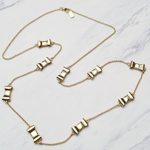 Kate Spade Gold Tone Bow Long Sweater Necklace